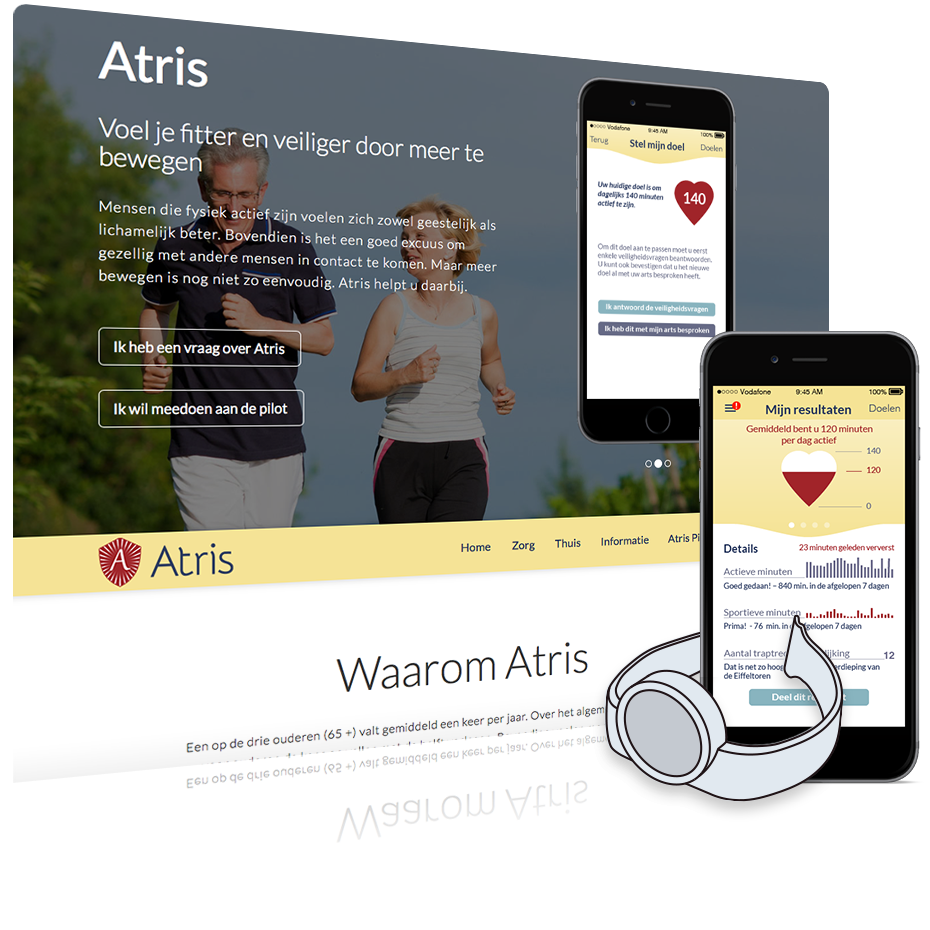 Atris website met AtrisApp screenshot